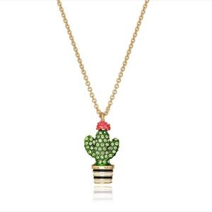 NWT Kate Spade Pave Crystals Cactus Pendant in Bag